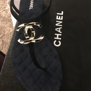 NWB Chanel Black Suede Thong 37.5